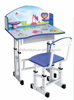 New Design Cartoon Picture Kids Cartoon Study Table And Chair