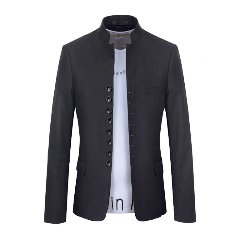 fd83e1ae0991 Get Quotations · Chinese Suit Stand Collar Male School Wear Chinese Tunic Suit  Casual Slim Suit Male Classic Blazer