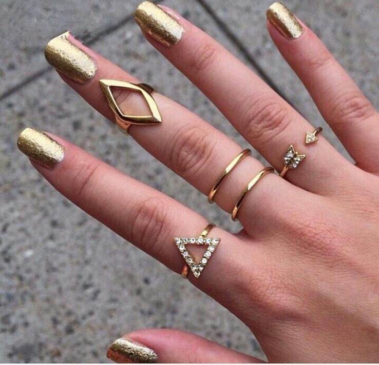 Women Fancy Rings New Style Summer Metal Gold Platred Geometry ...