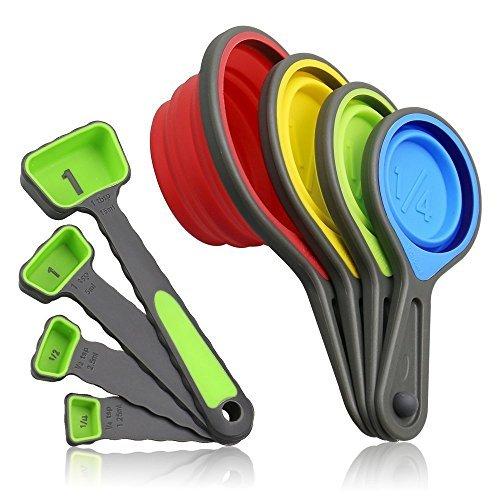 Cuchara de medir de silicona de 8 piezas con logotipo personalizado impreso para utensilios de cocina
