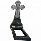 Modern Style Black&White Granite Headstone with Cross Monuments