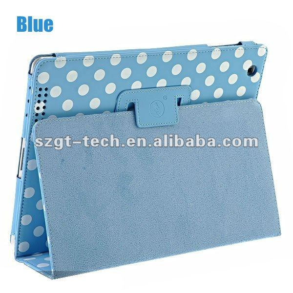 Polka Dots design Folio PU leather Smart Cover Standing Case for Apple iPad3/2 and for new iPad with multi-Colors