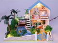 Free Shipping DIY Model Romatic lover House Assemble Villa Doll Home children toy Mini Wooden Miniature