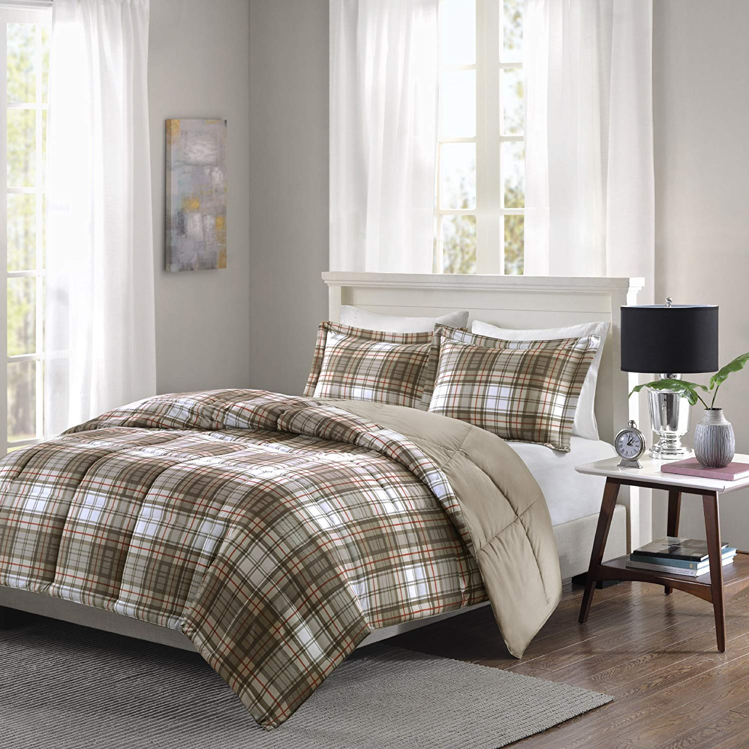 CA 3 Piece White Red Tan Brown Buffalo Checked Comforter Full Queen Set, Classic Plaid Bedding Extra Warmth Lightweight Checkered Madras Taupe Beige Down Alternative, Reversible Solid Microfiber