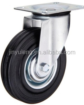 6 inch swivel solid rubber caster wheel with brake
