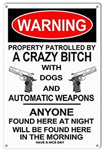 Warning Crazy Bitch With Weapons Funny Warning Metal Sign 12x18
