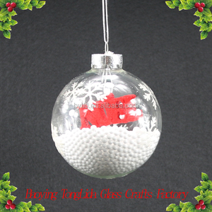 Christmas glass snow ball with red letters ornaments wholesale