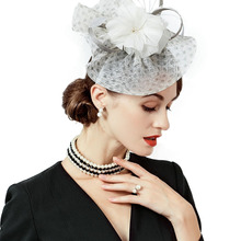 5f2afba373255 FS White Sinamay Wedding Hat Small Church Derby Hats For Women With Feather  Flower Pillbox Fascinators