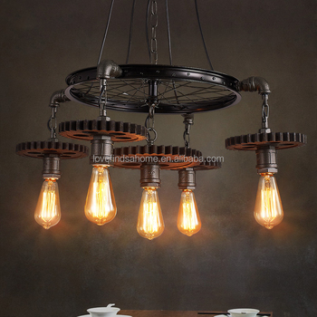 New Machine Wheel Gear Age Steampunk Pipe Led Pendant Bedroom Lamp With Vintage Industry Style Chandelier