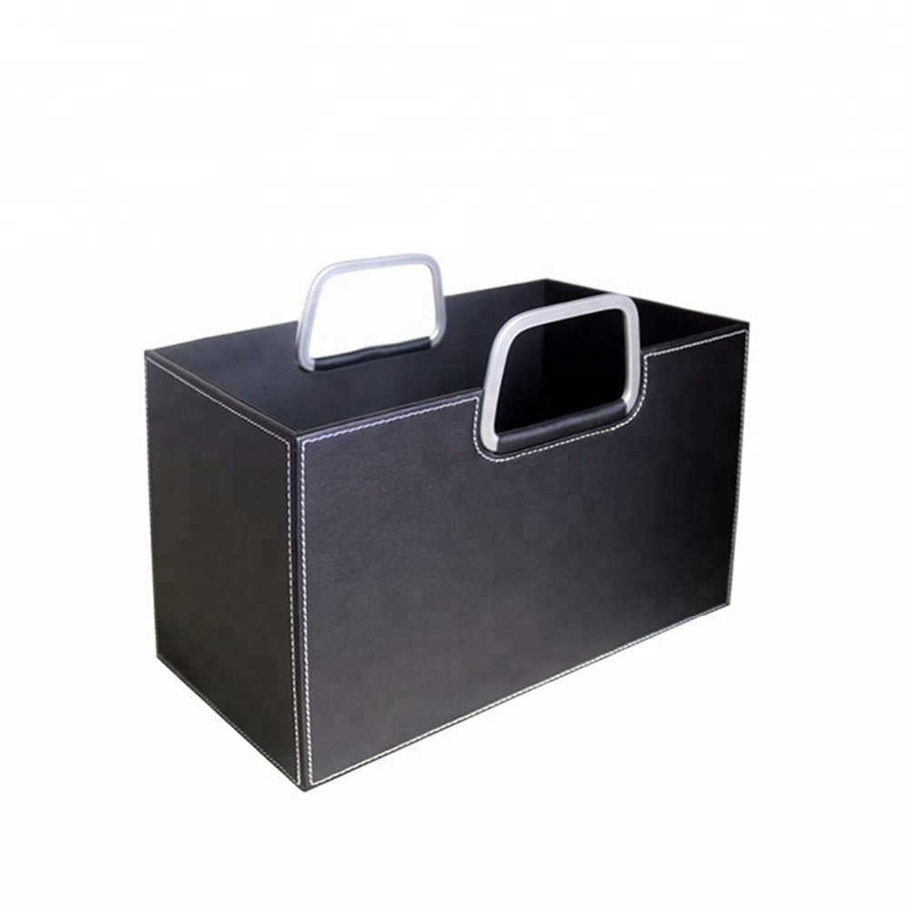 2020 new design portable custom handmade leather storage basket for kitchen