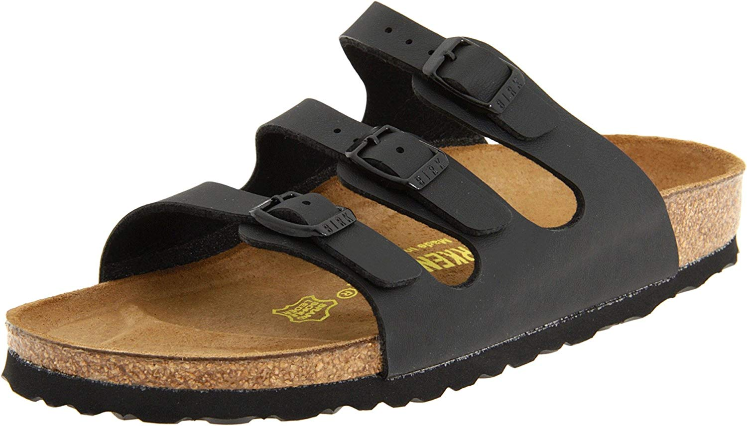 1decd112458 Get Quotations · Birkenstock Women s Florida Soft Footbed Birko-Flor Black  Sandals - 37 N EU   6
