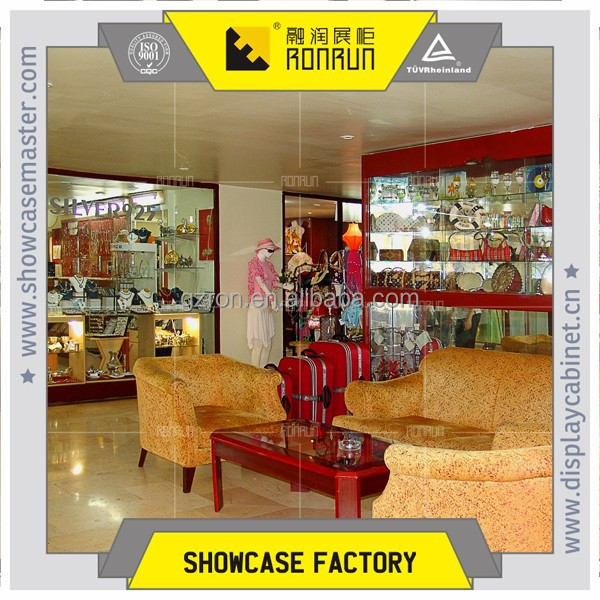 Fashion shopping mall jewelry and garment shop design with display furniture