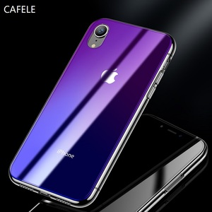 CAFELE Gradient Glass Case for iphone X Xr Xs Max TPU Edge Ultra Thin Mobile Phone Case for iphone X Xr Xs Max JE-629