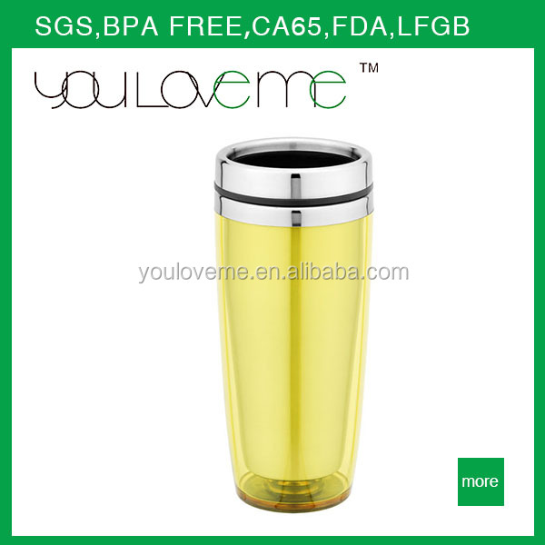 450ML Double Wall yellow Inserted Promotion Travel Mug