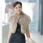 Fake fox fur black and white shawl woman short free size fox fur wraps