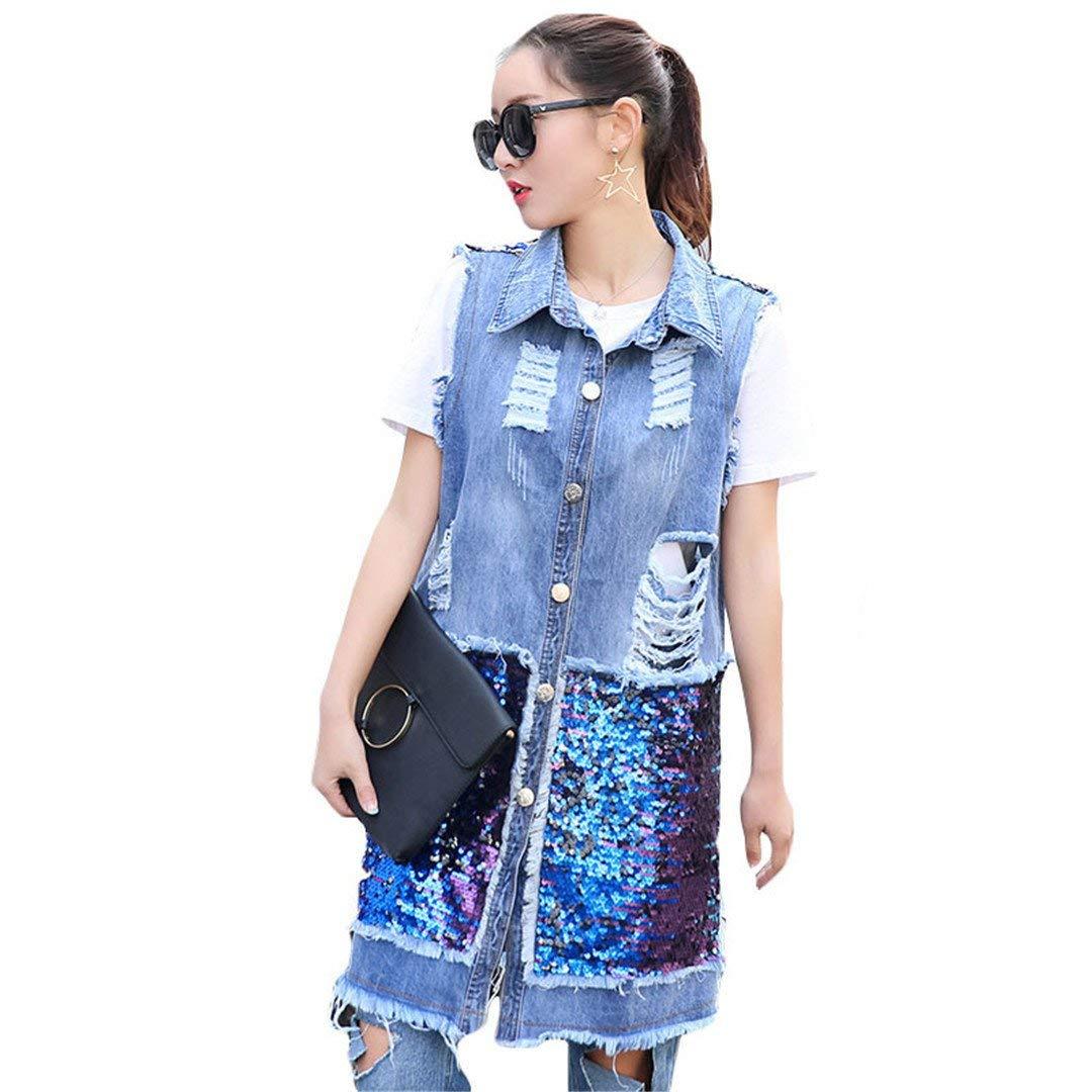 deb9fce38d47 Get Quotations · Women Sequined Long Sleeveless Denim Vest Women Hole Denim  Vests Jeans Jacket