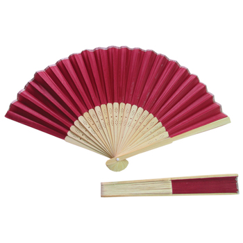 Wedding Favor Burgundy Fabric Hand Fans With 23 Bamboo Ribs Buy