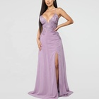Custom Elegant Violet Women Chiffon Crocheted Lace Spaghetti Straps Long Simple Evening Dress