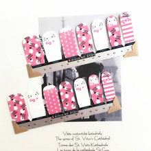 Pink Lovely Hello Kitty Nail Arts Stickers 14 pcs set Full Tape Patch Waterproof Foils Decals