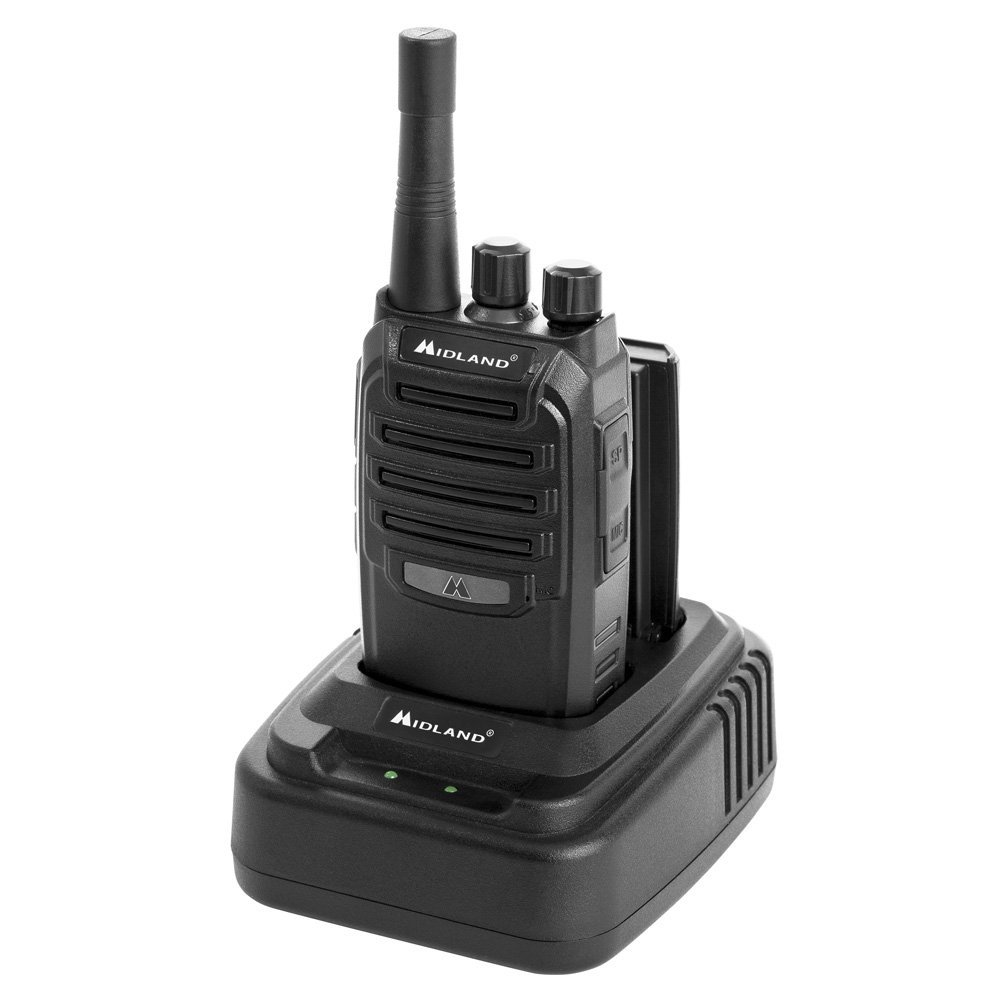 Midland BR200X6BGC BR200 2W 16 Channel UHF Business Band Portable Two-Way Radio - up to 250,000 sq. ft. Range Walkie Talkie, 142 Privacy Codes - Includes BGC200 Gang Charger (6 Pack) - Black