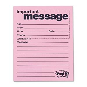 """Wholesale CASE of 10 - 3M Post-It Telephone Message Pads-Telephone Message Pad,3-7/8""""x5-7/8"""",50 Sheets/PD,12/PK,Pink"""