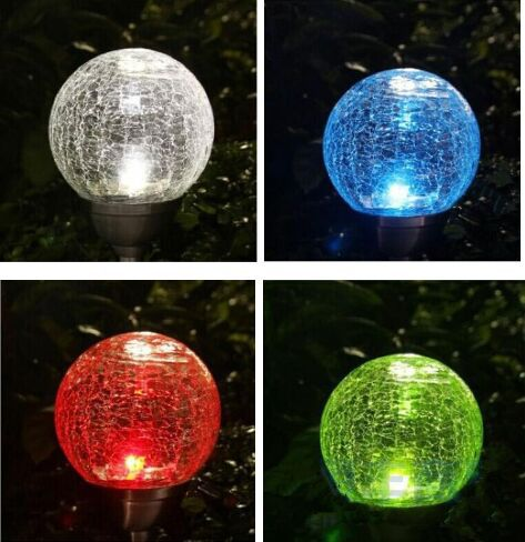 Garden Color Changing Solar Stake Crackle Glass Ball Led Light