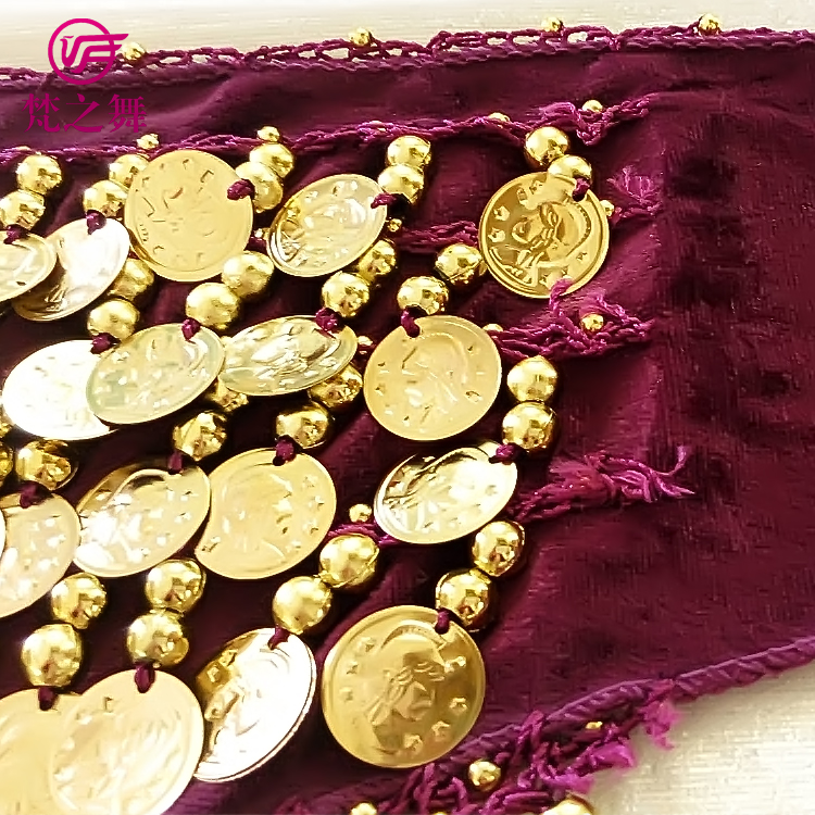 Y-2040 Classic velvet gold coins dancewear accessory belly dance hip scarf for children