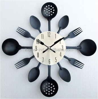 Cocina Creativa Reloj De Pared De Metal Moderno Diseño Tenedor Y ...