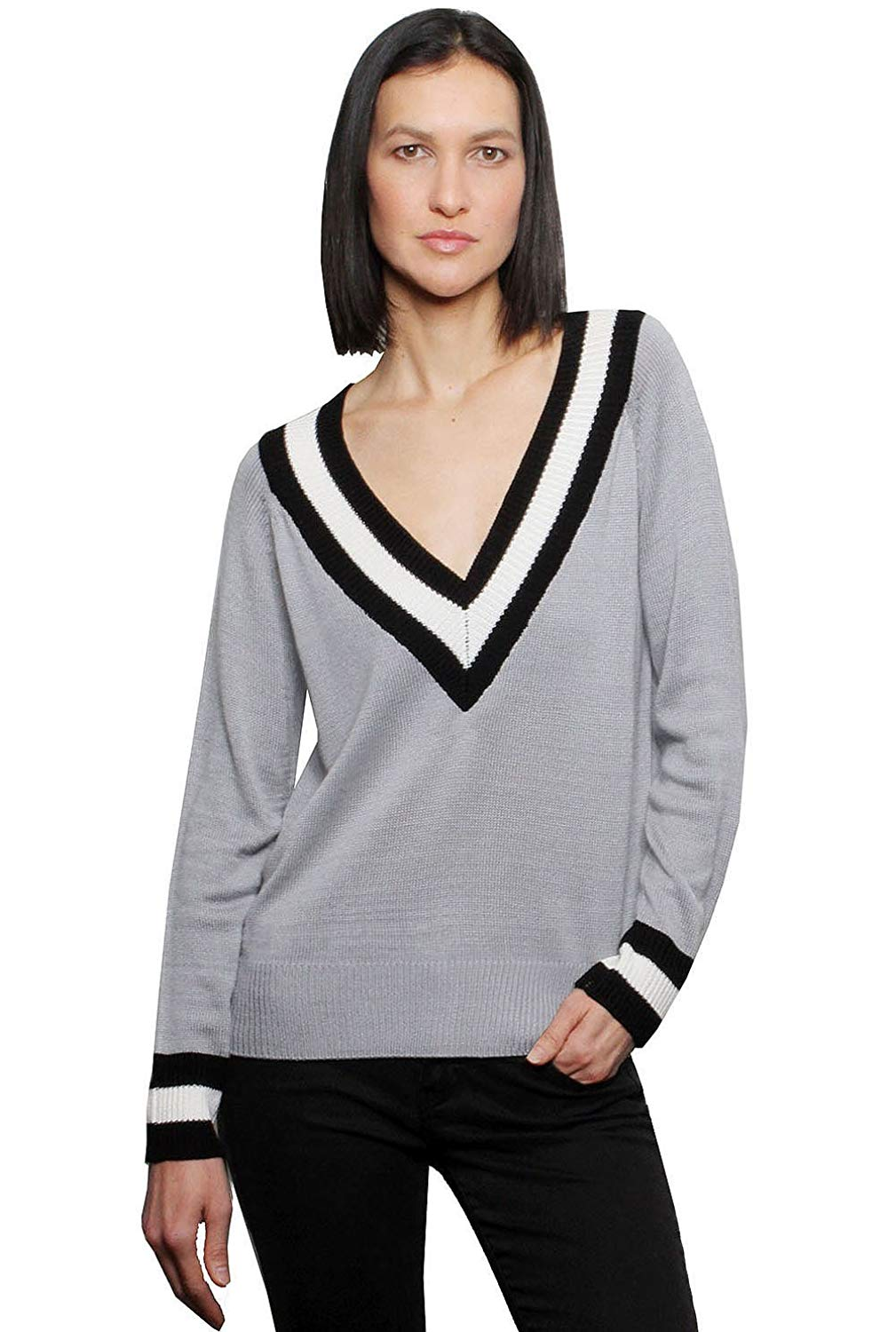 Fred and Sibel Women's Deep V-Neck Sweater Varsity Pullover Knit Jumper Top - 3 Colors Grey, Black, Pink