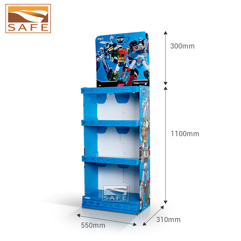 Custom Paper Floor Standing Rack Corrugated Cardboard Display Stand For Toy Promotion