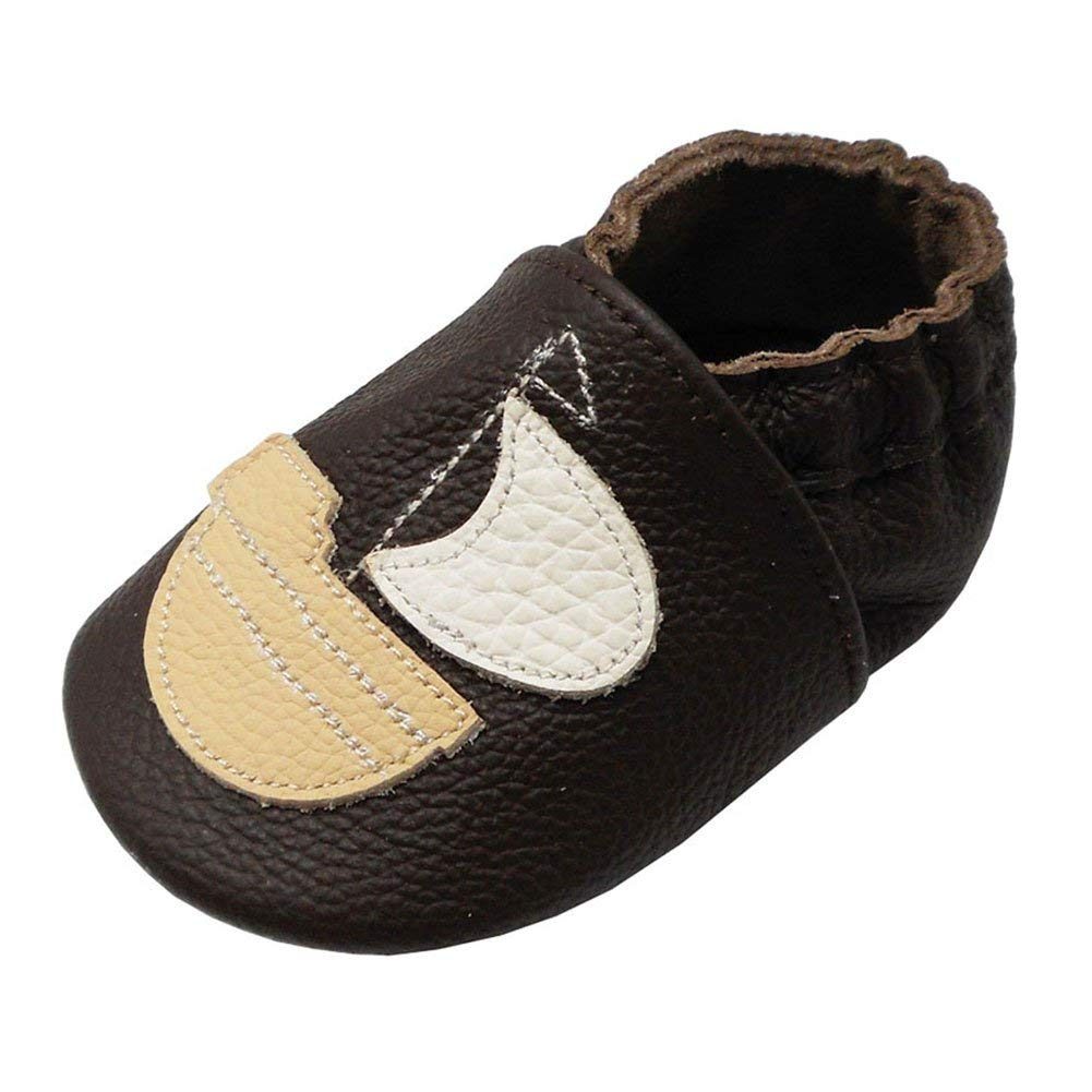 c5156ad29381 Get Quotations · Yalion Baby Soft Sole Leather Shoes Infant Toddler  Moccasin Prewalker Crib Shoes Sailboat Dark Brown