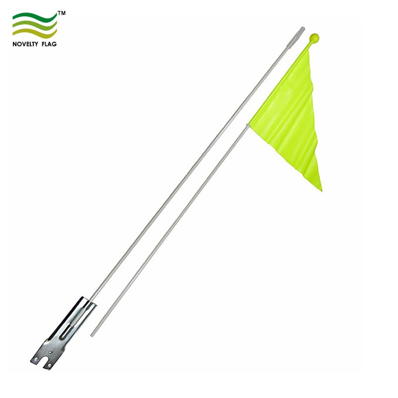 Yellow Pennant Bicycle Safety Flag with Axle Mounting Bracket NEW 6 ft