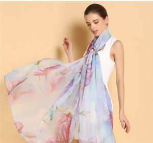 Customized Digital Printed 100% Silk Chiffon Long Scarf Of Design