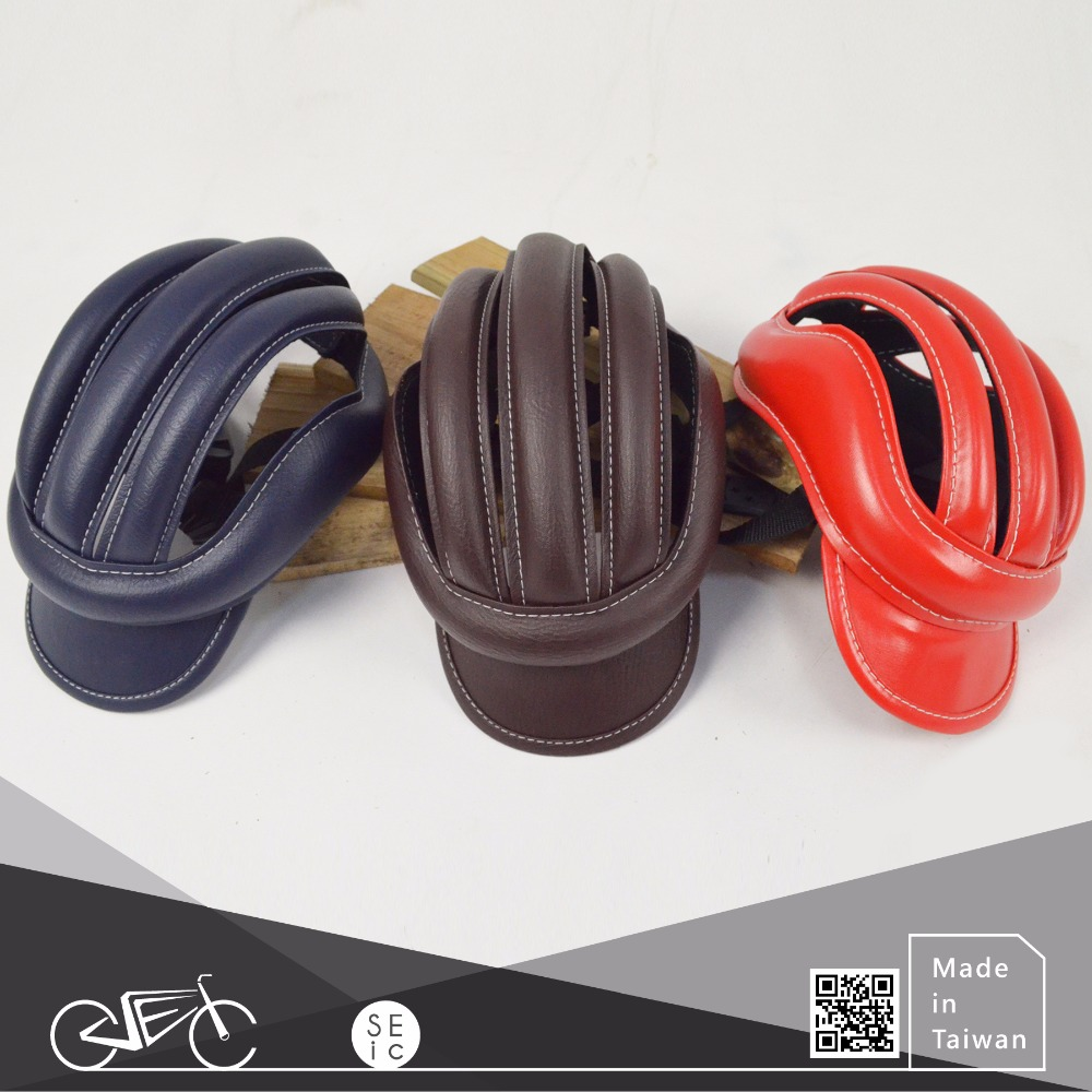 Fashionable bike accessory Taiwan OEM leather bicycle helmet