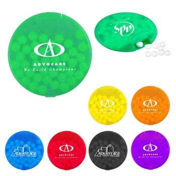 Novelty new personal cheap design 40 PC compact branded logo round plastic pocket container peppermint candy fresh tic tac mints