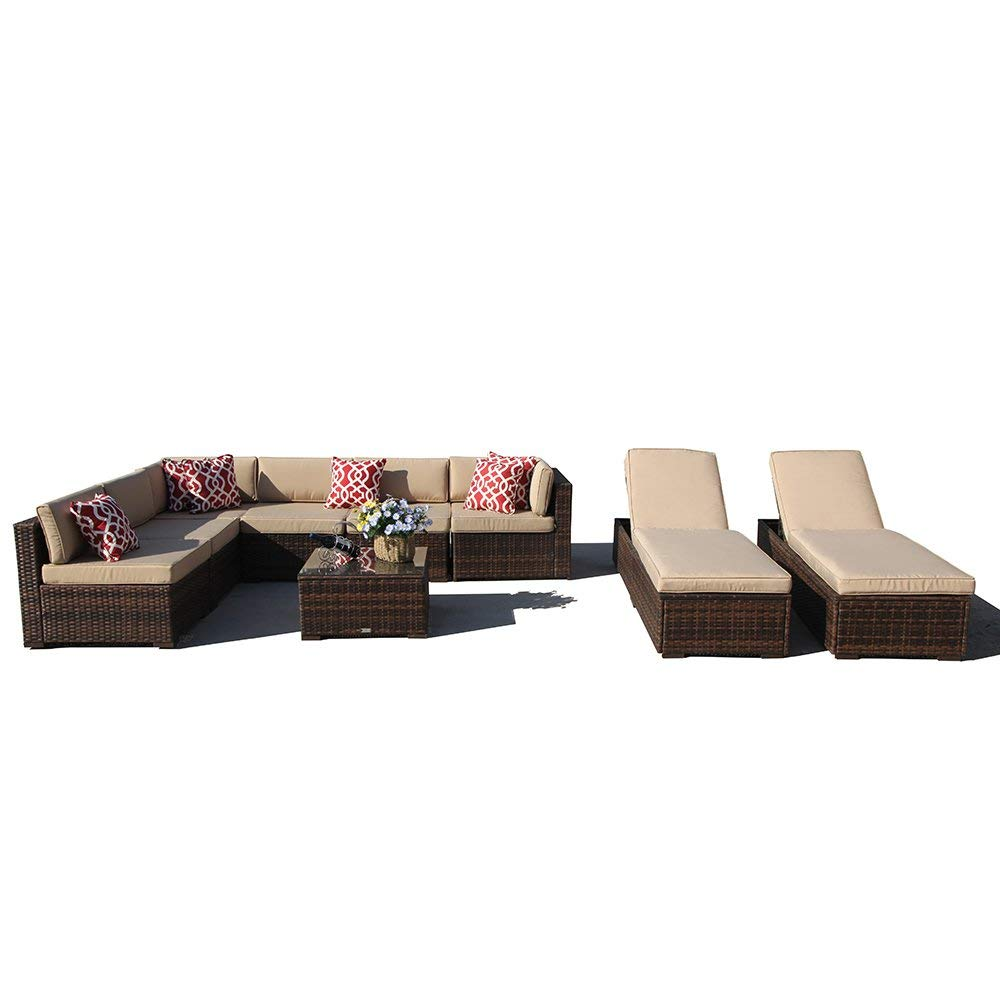 Get Quotations Super Patio 9 Piece Outdoor Furniture Sectional Sofa Set All Weather Pe Brown Wicker