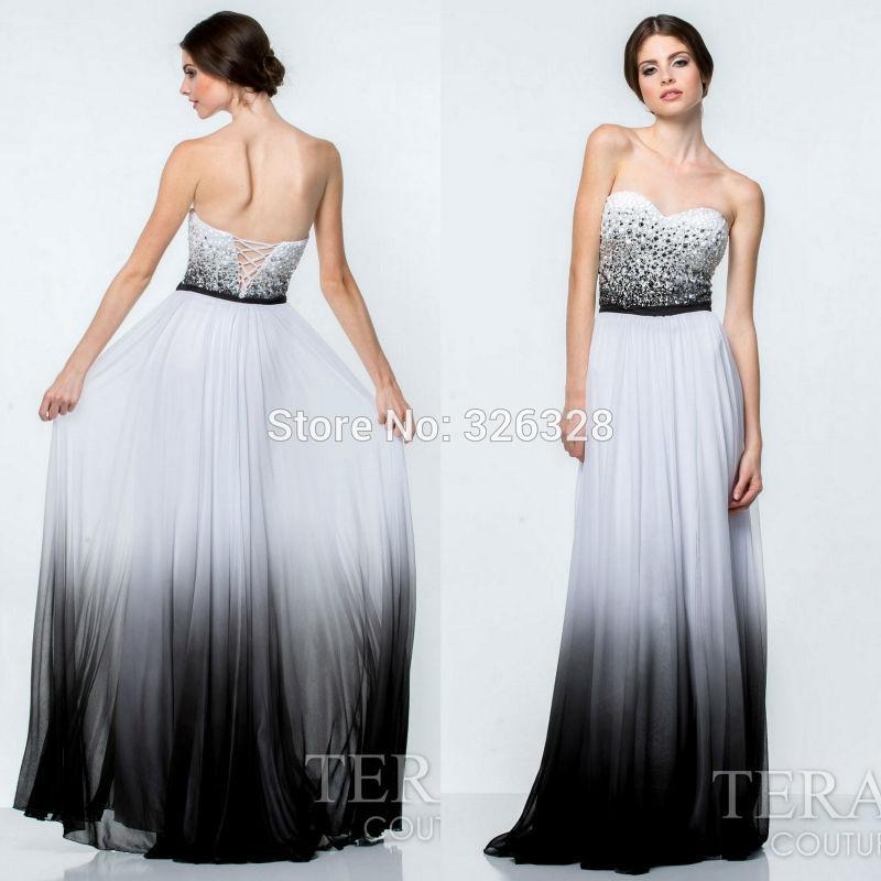 567aca10b67 Black And White Floor Length Prom Dress Fashion Dresses