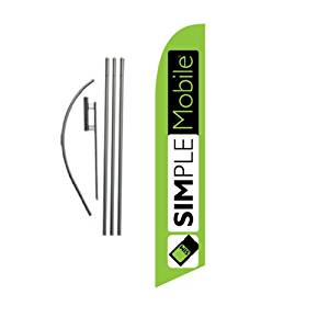 NEW Custom Simple Mobile SimpleMobile Wireless (lime) 15ft Feather Banner Swooper Flag Kit - INCLUDES 15FT POLE KIT w/ GROUND SPIKE