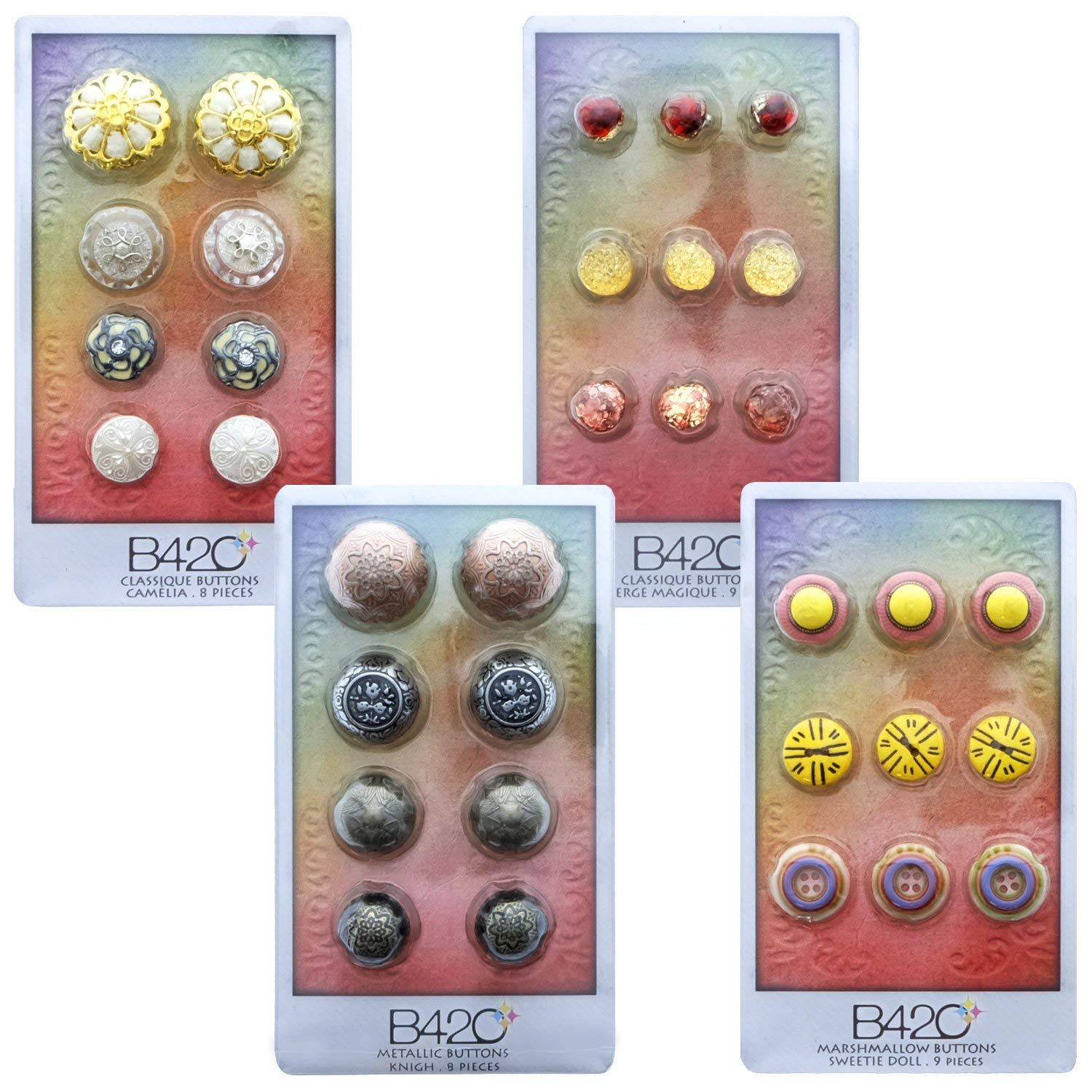 B42O Metal Bottons for Crafts Plastic Buttons for Sewing Vintage Craft Embellishments (34pcs Shank Buttons & Antique Buttons)