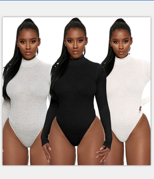 2380 sexy ladies cotton long sleeve bodysuit women knitted bodysuits