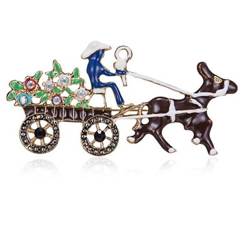 costume vintage enamel horse flower carriage lapel pin brooch