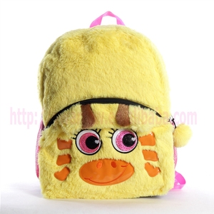 soft kids plush backpack bright yellow dinosaur backpack applique bag for kids