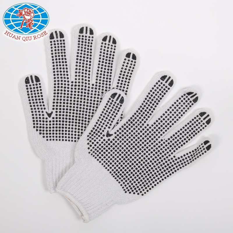 7G string knit adult with black PVC dots glove