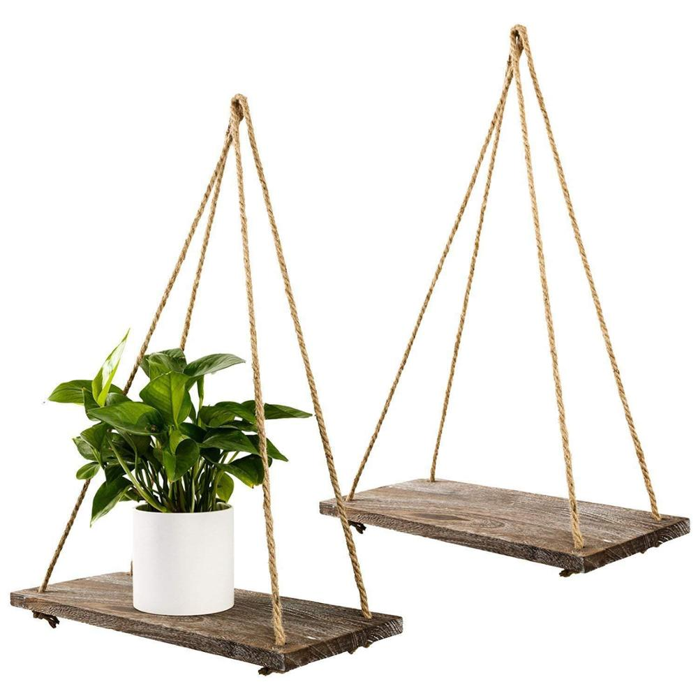Home Decor Wall Hanging <strong>Shelf</strong> Distressed Wood Jute Rope Floating <strong>Shelves</strong>