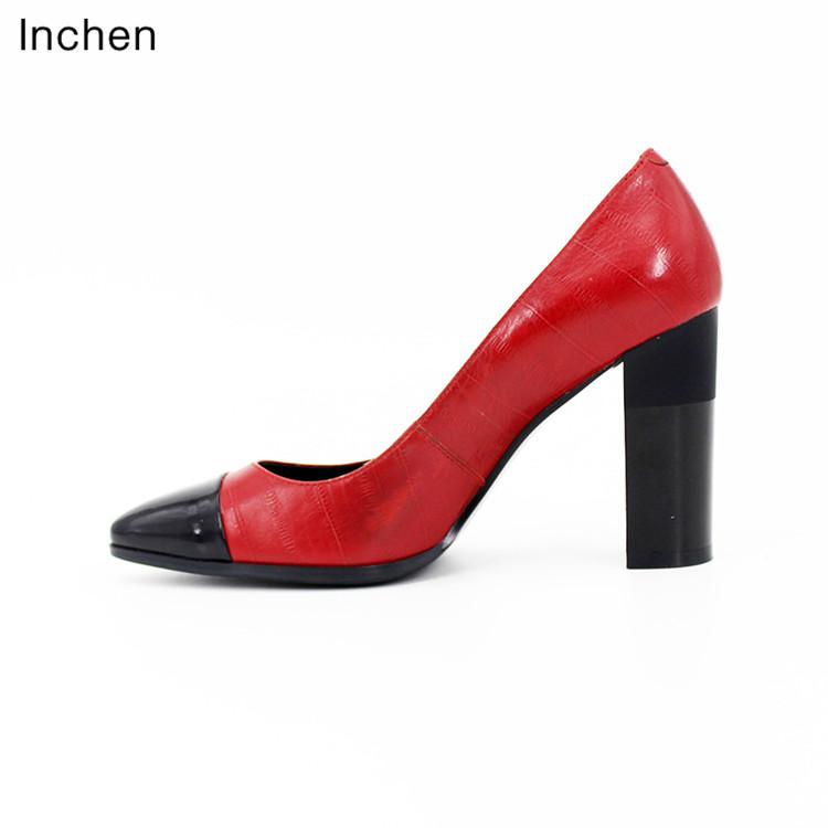 ladies pumps pointed Genuine 5cm black shoes toe high 9 red elegant leather heel autumn work 7fqfwpgH