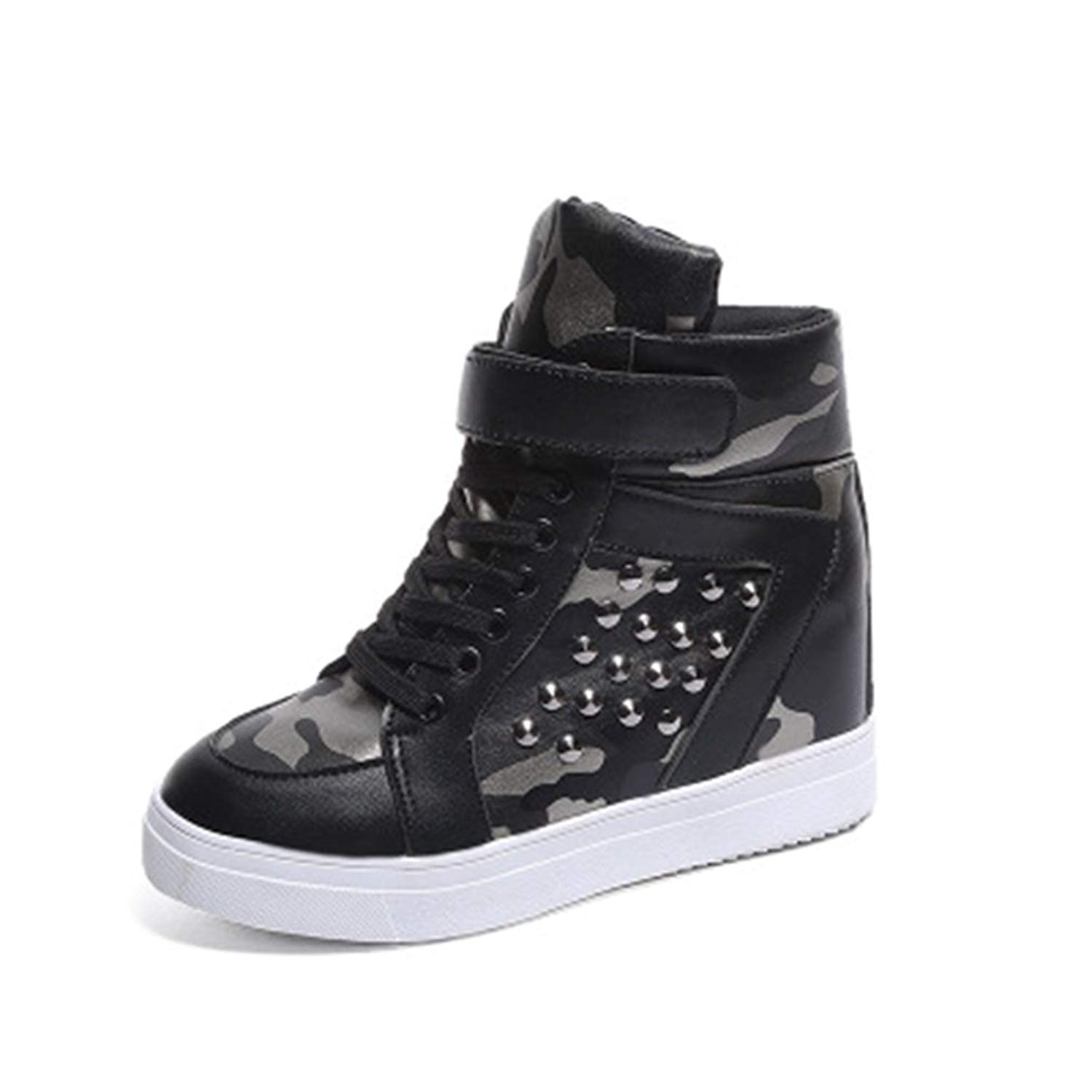 7bc8b30ddd19 Get Quotations · GIY Women s High Top Fashion Sneakers Lace up Wedges  Platform Round Toe Hidden Heel Rivets Sneaker