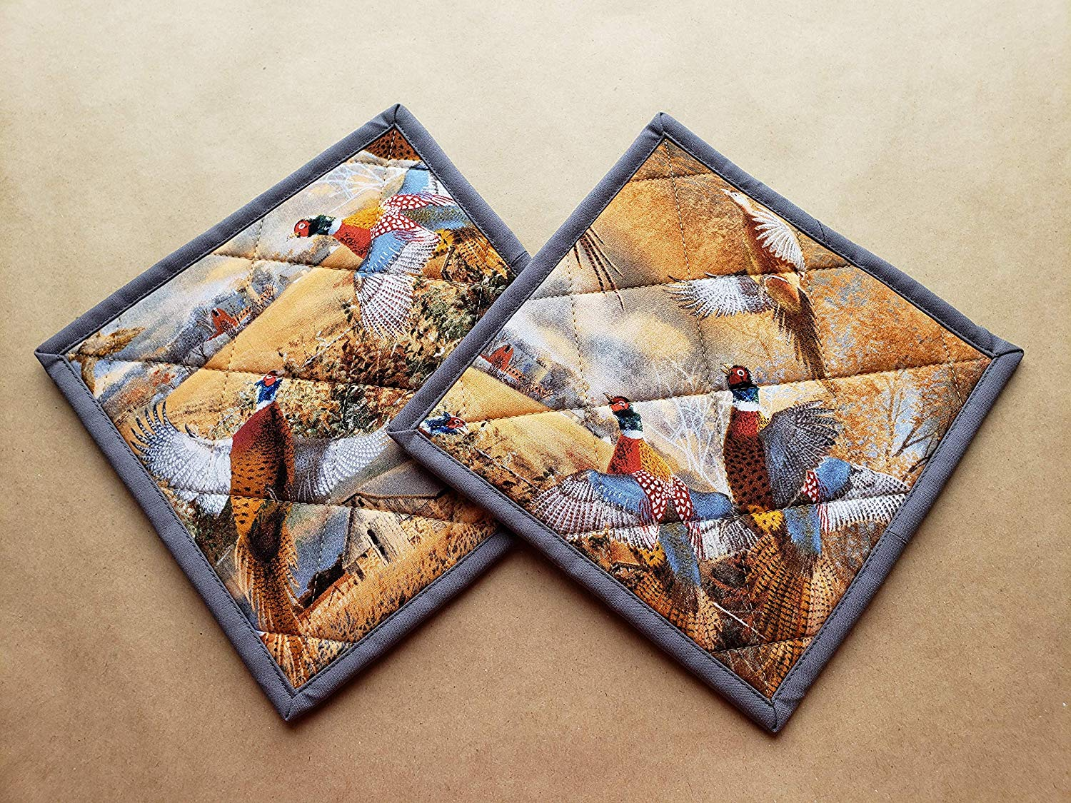 Ring Necked Pheasant Quilted Potholders, Hunting, Set of 2 Insulated Trivets, Hot Pads, Game Birds, Wheat Farmer Kitchen Linens, Gifts Under 20, FFA, 4H, Hunt Club, Barn, Pair of Farm Pot Holders