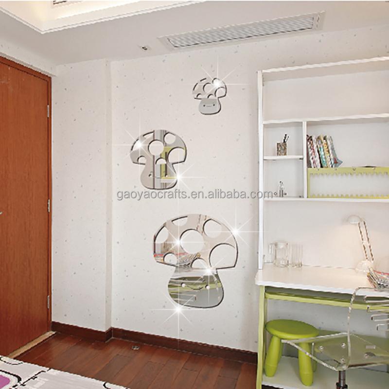 3 pcs de bande dessine heureux champignon ppinire enfants chambre dcor rflchissant acrylique miroir dcoratif miroirs