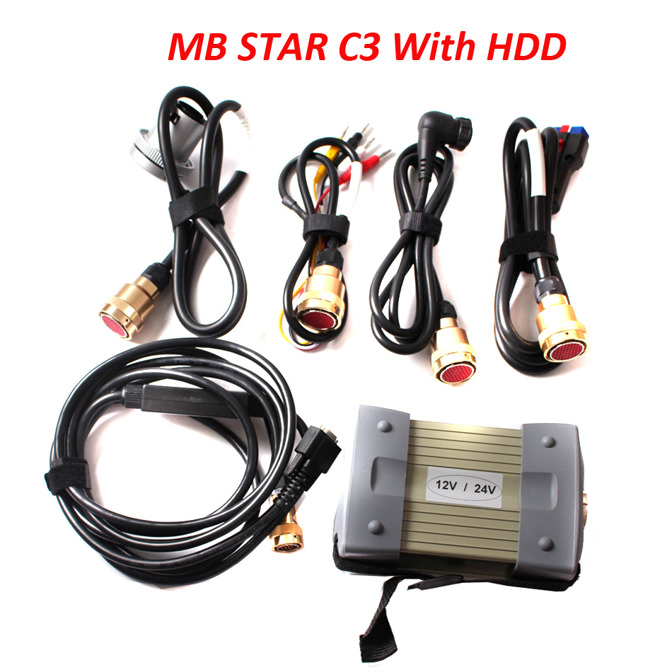 Super mb star c3 with full cable professional car diagnostic tool For truck cars and new version mb star c3 software in HDD