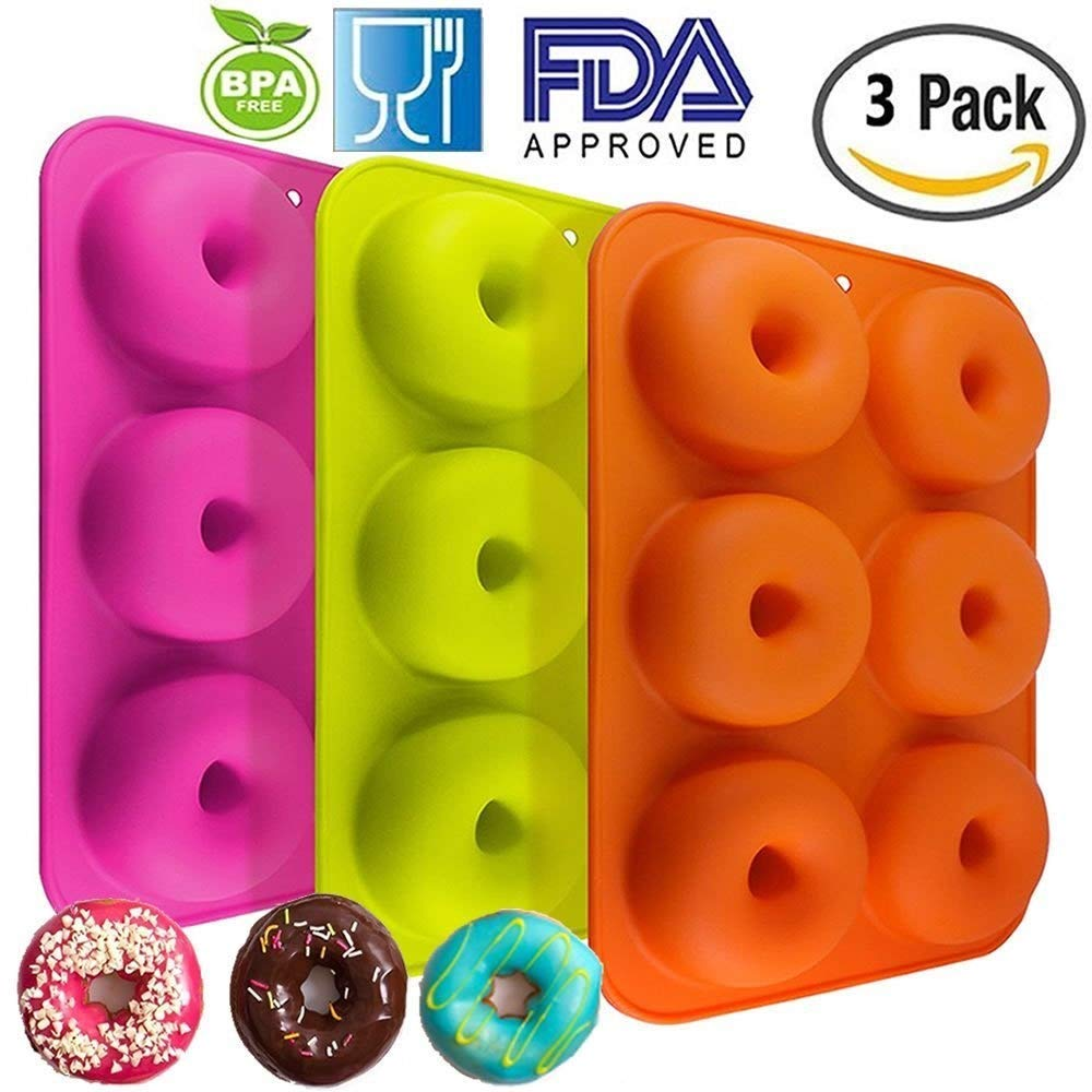 Silicone Donut Molds 3 Pack 6 Cavity Non-Stick Safe Baking Tray Maker Pan Heat Resistance BPA Free Donut Mold Muffin Cups Cake Baking Ring Biscuit Mold for Cake Biscuit Bagels by Meiso